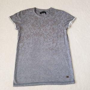 Blue Faded Printed Short Sleeve Tee